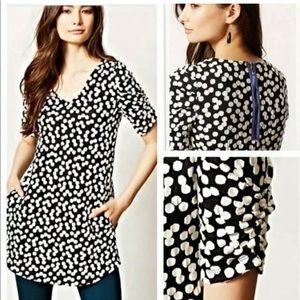 Anthro Deletta Black White Polka Dot Dress Tunic